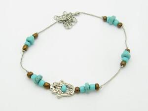Silver Tone Blue Turquoise Hama Hand of God Evil Eye Anklet Bracelet Gift