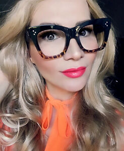 Sexy Large Thick Cat Eye Frames Square Geek Eyeglasses Glasses 80661 L
