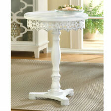 White Wood Cutwork Round Pedestal Table