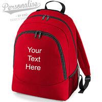 Personalised Rucksack BACKPACK School Bag College Travel Day Trip Kids BG212