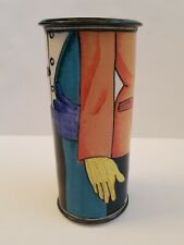 Signed Studio Pottery Vase White Clay Multicolored People Mid Century Painted