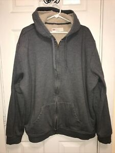 Men's Levi's 2XL Full Zip Hoodie Sherpa Lined Gray Cotton VGUC