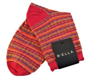 B. Ella Ladies Cotton Blend Crew Socks Linnea Stripe Pink Orange Grey - NEW