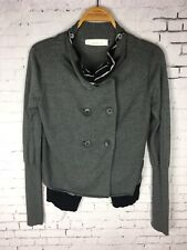 LAURIE B SWEATER PEACOAT SMALL WOMEN'S BUTTON UP GRAY SOFT KNIT LAYERED (DAF)