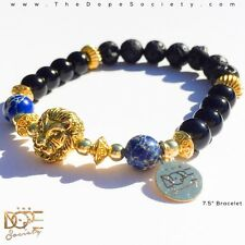 Gold Lion Beaded Bracelet, Onyx Bead Bracelet, Lava Bead Bracelet, Gold Bracelet