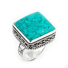 Turquoise Gemstone 925 Sterling Silver Jewelry Ring Size 9 0448