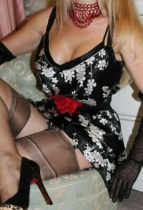 (Ref10) Shiny Sleek Black Floral Faux Satin Ladies Night Dress Babydoll  size 16