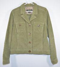 Eddie Bauer Olive Green Corduroy Jacket 4 Button Front Women's Large