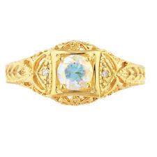 14Kt Gold Natural Mercury Mist Mystic Topaz & Diamond Round Design Ring