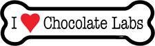 "I Heart (Love) Chocolate Labs Dog Bone Car Magnet 2"" x 7"" USA Made"