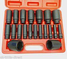 21 pièces 1.3cm MOTEUR Jeu de douilles à impact prodondes 10 - 38mm 6 points