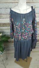 Adrift Mandala Embroidered Peasant Dress Grey Gypsy XS/S 8 - 10 RRP $169.99
