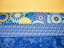 4 FQ Bundle – Blue & Yellow Floral Prints 100% Cotton Quilt Fabric Fat Quarters
