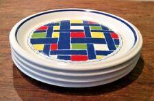 """MIKASA VINTAGE 70'S BLUE JEAN BRUSHED DENIM RED&BLUE 7-3/4""""SALAD PLATES LOT OF 4"""