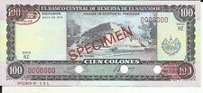 EL SALVADOR 100 COLONES 1978  P 122. SPECIMEN. UNC CONDITION. 6RW 01AGO