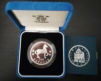 MACAO MACAU RARE SILVER PROOF 100 PATACAS COIN 2002 YEAR OF HORSE KM#107 COA BOX