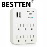 BESTTEN 6-Outlet Wall Surge Protector w/ 2 USB Charging Ports (3.1A)  ETL White