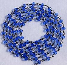 5 Feet Tanzanite Hydro Black Plated Vermeil Rosary Faceted Link Chain For Sale.