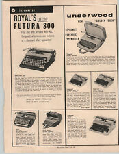 1961 PAPER AD Royal Futura 800 Portable Typewriter Underwood Golden Touch Leader