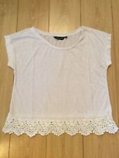New Look White Lace-trimmed Cropped T-Shirt, UK Size 10