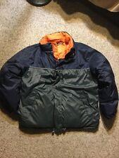 Nautica Vintage VTG Reversible Navy Orange Gray Hooded Puffer Down Jacket Mens M