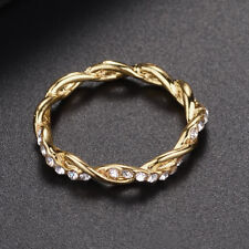 Fashion Women14K Solid Gold Rose Gold Stack Twisted Ring Wedding Party Jewelry