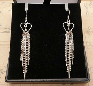 Vintage 925 Solid Sterling Silver Heart and Chain Long Drop Earrings With Box