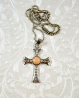 Jerusalem Calvary Cross Crucifix Pendant Silvertone Jaspar Cabochon on Chain