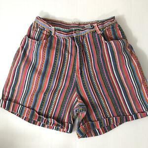 Vintage GITANO Multicolor Striped Mom Jean Cotton Cuffed Shorts Sz 18W / 32