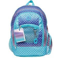 """Double Dutch Club 18"""" Geo Print Backpack - Blue NWT Back to School Bag"""