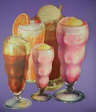 Original 1950s American Diner Paper Die Cut Signs - Soda/Floats/Shakes - Lot B