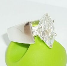 New Seta Sterling Silver Ring 2ct CZ Marquis Engagement Ring Sz 7.5 Elegant 6.5g