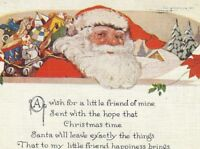 CE-221 Santa Claus in Red with Toys Divided Back Postcard Christmas A Wish