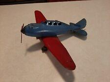 Vintage 1940's Marx P35 Fighter Single Prop Pressed Steel Airplane Nice