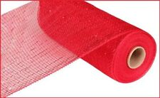 "Christmas 10"" Red With Red Foil Decomesh 10 Yards Mesh"