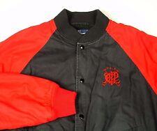 Polo Ralph Lauren Red Black Varsity Scribble Baseball Jacket M PRLC Knit Collar