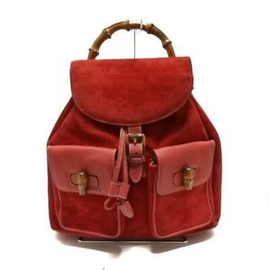Auth GUCCI Bamboo Red Brown Suede Leather Wood Backpack