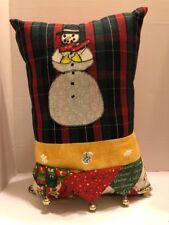 Snowman Decorative Pillow Christmas Appliqué Bells Hand Made Plaid