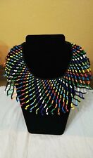Zulu Beaded Statement Shoulder Multi Color South African Necklace