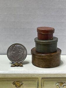 Vintage Artisan B DAVIS Wood Shaker Box Set (3) Dollhouse Miniature 1:12 EUC