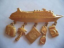 """Vintage Signed JJ """"Gold pewter Cruise Ship Dangler"""" Brooch/Pin"""