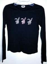 Playboy Womens Solid Black Long-Sleeved Top, Sz M - 100% Cotton, Casual