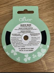 Clover Quick Bias Fusible Tape. 6mm Wide 10m Reel Black
