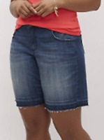 Lane Bryant Womens Denim Bermuda Raw Edge Shorts Plus Size 22 Raw Released Hem