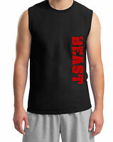 Men's Black Muscle Red Beast T-Shirt Tank Top Fitness Bodybuilding Gym Workout
