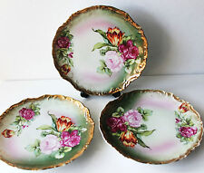 Vtg Porcelain Floral Rose Tulip American Beauties Plate Wheelock Co Germany 3 Pc