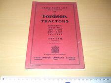 FORDSON TRACTORS     SPARE PARTS LIST 1917 - 1945