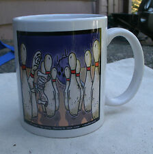 Bowling Pins Cartoon Mug,2003,porcelain -London Times,sports,white,funny,coffee