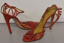 Valentino Sz 40 Designer Red High Heels Sandals Italy Strappy Ankle Animal Skin