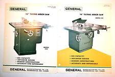 "2pc GENERAL 12"" No.450 & 14"" No.550 TILTING ARBOR Table SAW ADVERTISEMENTS RR629"
